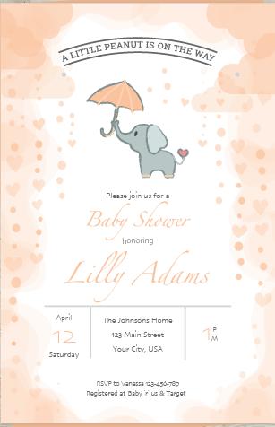 Orange Elephant Baby Shower Invitation