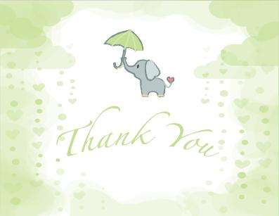 Green Elephant Baby Shower Invitation
