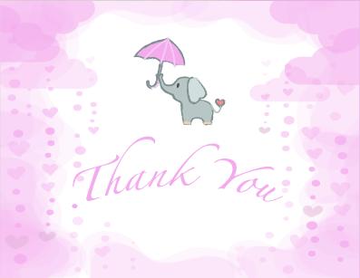 Pink Elephant Baby Shower Invitation